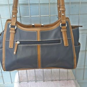 Tignanello blue/brown leather satchel purse